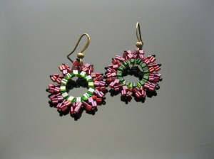 """Watermelon"" Sunburst Earrings"